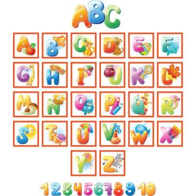 Poster Colorful Alphabet für Kinder mit Bildern