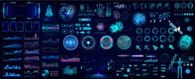 Poster Colorful HUD elements set for UI, UX, GUI projects. Hi-tech digital elements for Scifi and HUD design - Circle gadgets, frames, callouts titles, charts, audio graphics, circle Sci-fi elements. Vector