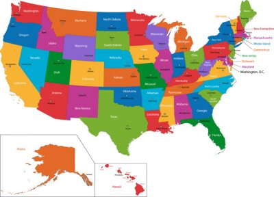 poster colorful karte der usa mit staaten und hauptstadte
