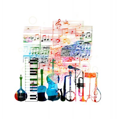 Poster Colorful music instruments design