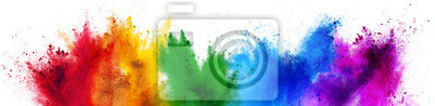 Poster colorful rainbow holi paint color powder explosion isolated white wide panorama background