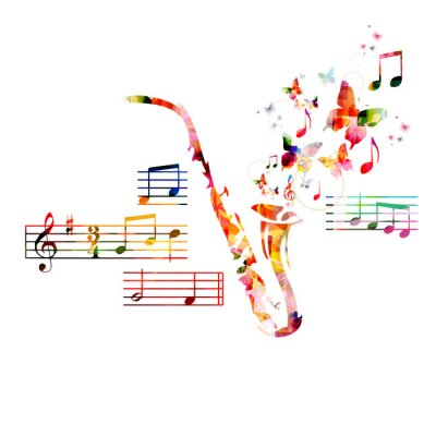Poster Colorful saxophone design with butterflies