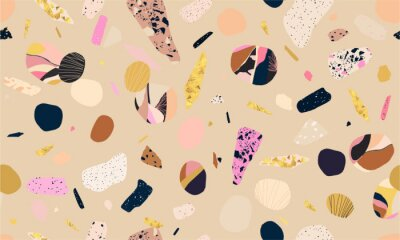 Colorful seamless terrazzo pattern. Hand drawn trendy abstract illustrations. Creative collage seamless pattern.
