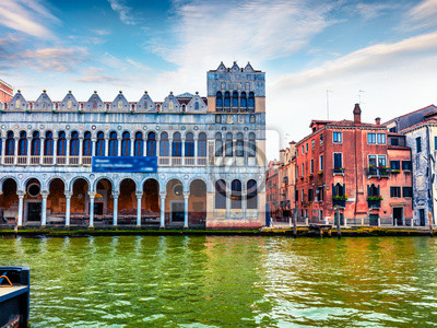 Colorful spring cityscape of Vennice with famous Grand Canal and colorful houses. Splendid morning scene in Italy, Europe. Magnificent Mediterranean cityscape. Traveling concept background.