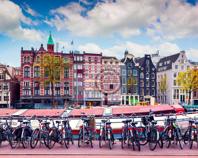Colorful spring morning in the Amsterdam