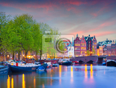 Colorful spring sunset on the canals of Amsterdam.