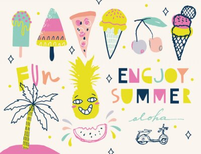 Colorful Summer elements collection.