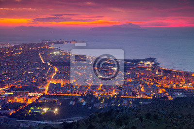 Colorful summer sunset on the town Trapani