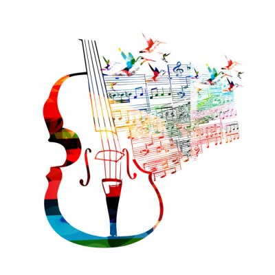 Poster Colorful violoncello design with hummingbirds