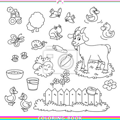 Poster: Coloring book with animals