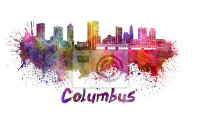 Columbus Skyline in Aquarell