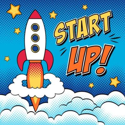Poster Comic-Illustration der Start-up-Konzept mit einer Rakete in Pop-Art