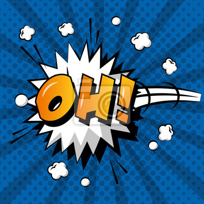 Poster Comic-Pop-Art-Sprechblase Explosion oh