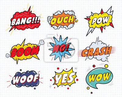 Poster Comic-Sound-Rede-Effekt Blasen-Set isoliert auf weißem Hintergrund Vektor-Illustration. Wow, Pow, Bang, Autsch, Crash, Schuss, nein, ja Schriftzug.