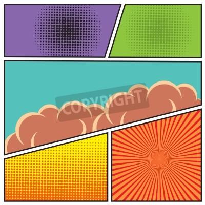 Poster Comics Pop-Art-Stil leere Layout-Vorlage mit Wolken Strahlen und Punkte Muster Hintergrund Vektor-Illustration