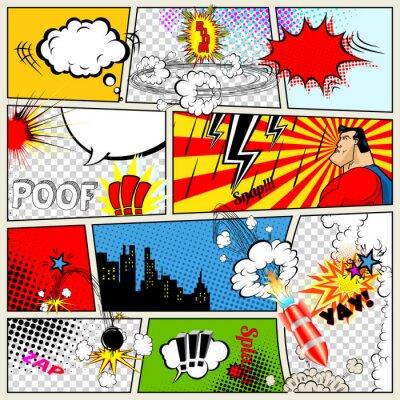 Poster Comics Template. Vector Retro Comic Sprechblasen