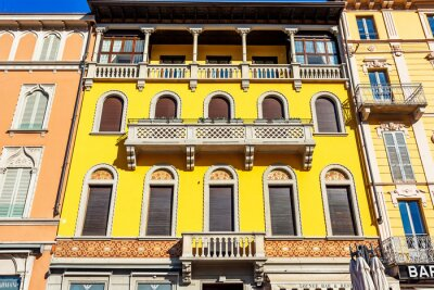 Como, Italy, February 12, 2020. Fragment of facade, typical architecture of the region