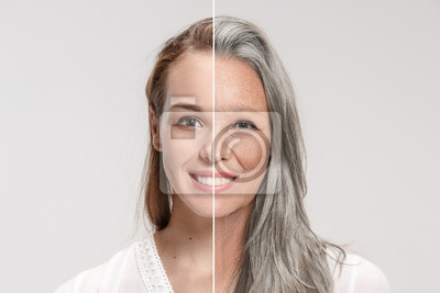 Poster Comparison. Portrait of beautiful woman with problem and clean skin, aging and youth concept, beauty treatment and lifting. Before and after concept. Youth, old age. Process of aging and rejuvenation