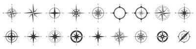 Poster Compass icons set. Vector compass icons.