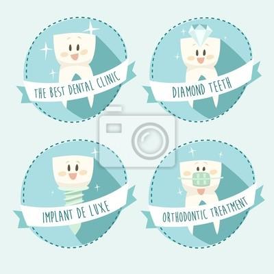 concept of healthy teeth, icon set, vector illustration