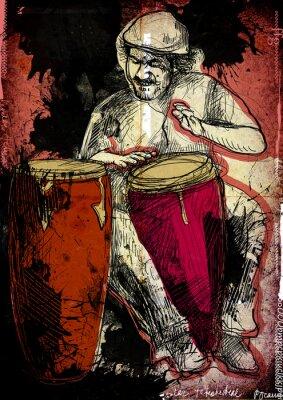 Poster conga-Player - eine Hand gezeichnet Abbildung