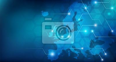 Poster Connected European map concept – European Union, trade, digitalization, future