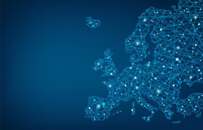 Poster Connected map of Europe, background concept – European Union, cooperation, technology, digitalization, future