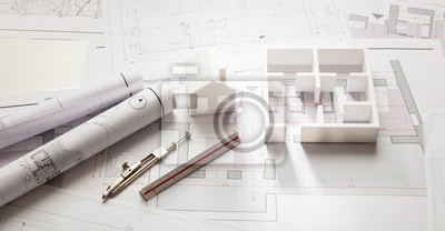 Poster Construction concept. Residential building drawings and architectural model,