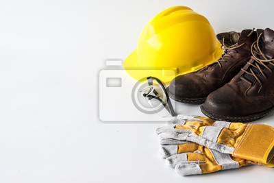 Poster Construction site safety. Personal protective equipment on white background. Free space for text