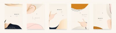 Contemporary abstract universal background templates with flowers. Minimalist aesthetic.