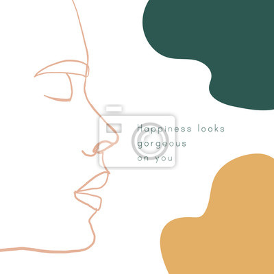 Poster Continuous line, drawing of beauty woman face, fashion concept, woman beauty minimalist. Inspirational positive quote. Minimalistic poster with calligraphy text. One line fashion illustration vector