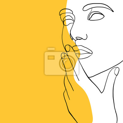 Poster Continuous line, drawing of beauty woman face, fashion concept, woman beauty minimalist, vector illustration for t-shirt slogan design print graphics style. One line fashion illustration