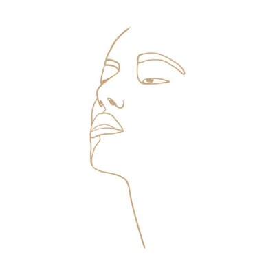 Poster Continuous line, drawing of beauty woman face, fashion concept, woman beauty minimalist, vector illustration for t-shirt, slogan design print graphics style. One line fashion illustration