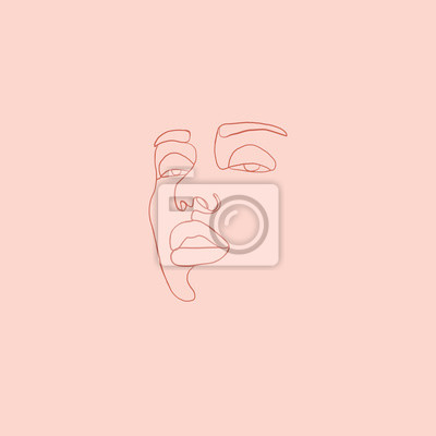 Poster Continuous line, drawing of beauty woman face, fashion concept, woman beauty minimalist, vector illustration print on beige background. One line fashion illustration
