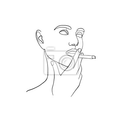 Poster Continuous line, drawing of beauty woman face with cigarette in hand. Fashion concept, woman beauty minimalist, vector illustration for graphics design. One line fashion style illustration