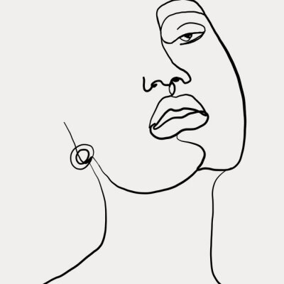 Poster Continuous line, drawing of beauty woman face with earring , fashion concept, woman beauty minimalist, vector illustration for t-shirt slogan design print graphics style. One line fashion illustration