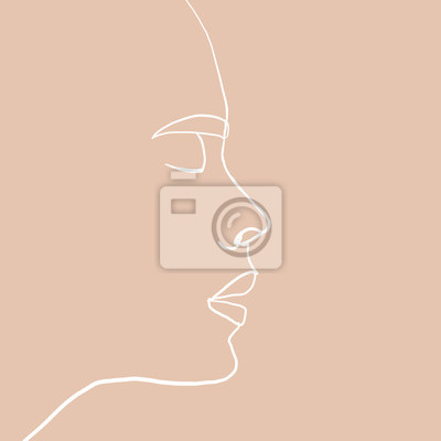 Poster Continuous line, drawing of beauty woman face with earring , fashion concept, woman beauty minimalist, vector illustration print on beige background. One line fashion illustration