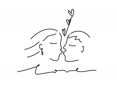 Continuous line, drawing of couple in love, fashion minimalist concept, vector illustration.