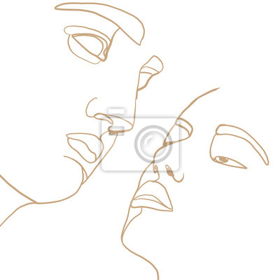 Poster Continuous line, drawing of man face, fashion concept, man beauty minimalist with geometric doodle Abstract floral elements pastel colors. One line continuous drawing. vector illustration