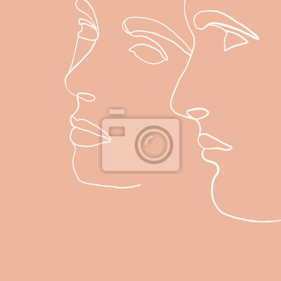 Poster Continuous line, drawing of set faces men and women, fashion concept, woman beauty minimalist, vector illustration for t-shirt, slogan design print graphics style. One line fashion illustration