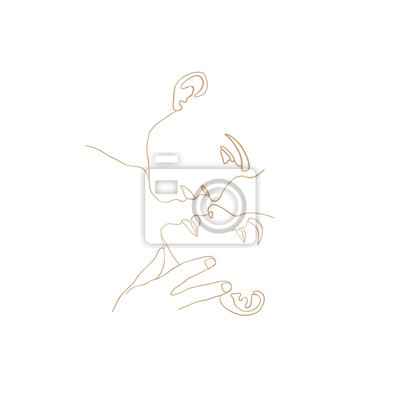 Poster Continuous line, drawing of set faces men and women in kiss, fashion concept, woman beauty minimalist, vector illustration t-shirt, slogan design print graphics style. One line fashion illustration