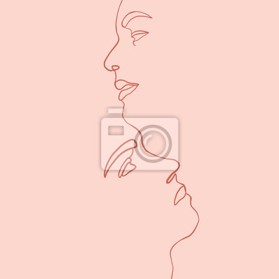 Poster Continuous line, drawing of set facesmen and women in kiss, fashion concept, woman beauty minimalist, vector illustration for t-shirt, slogan design print graphics style. One line fashion illustration
