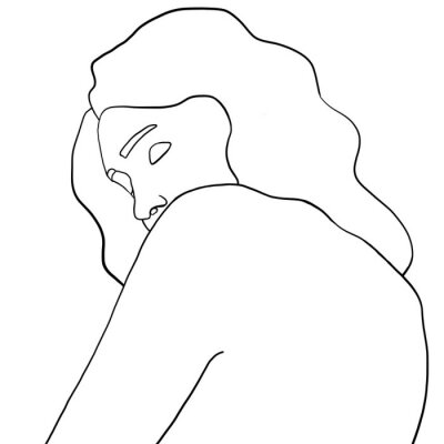 Poster Continuous line, drawing of woman face, fashion concept, woman beauty minimalist, vector illustration for t-shirt, slogan design print graphics style. One line fashion illustration