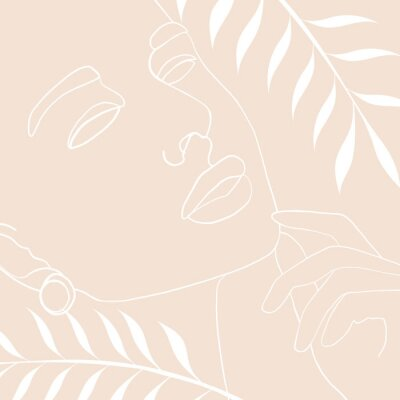 Poster Continuous line, drawing of woman face, fashion concept, woman beauty minimalist with geometric doodle Abstract floral elements pastel colors. One line continuous drawing. vector illustration