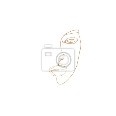 Poster Continuous line, drawing of woman face with earring , fashion concept, woman beauty minimalist, vector illustration for t-shirt, slogan design print graphics style. One line fashion illustration