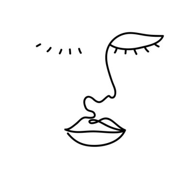 Continuous line, drawing of woman face with exotic flowers, fashion minimalist concept, vector illustration.