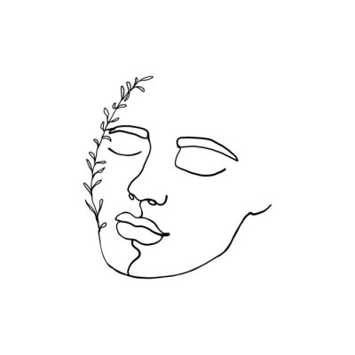 Poster Continuous line, drawing of woman face with leaves, fashion concept, woman beauty minimalist with doodle Abstract floral elements. One line continuous drawing. vector illustration