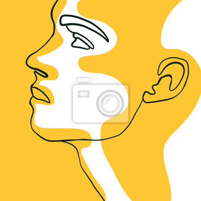 Poster Continuous one line drawing of man face portrait with yellow spot. Hairstyle. Fashionable men's style. Fashion concept, beauty minimalist, vector illustration for t-shirt, slogan design graphics style