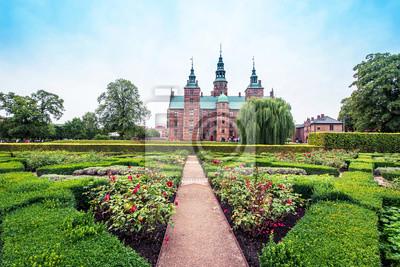 Copenhagen, Denmark – August, 18: magical landscape in the park of famous Rosenborg Castle in Copenhagen, Denmark on August 18, 2019. Popular tourist atraction.