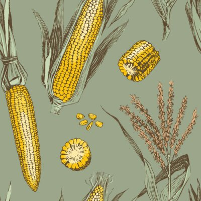 Poster Corn on the cob vintage design seamless pattern
